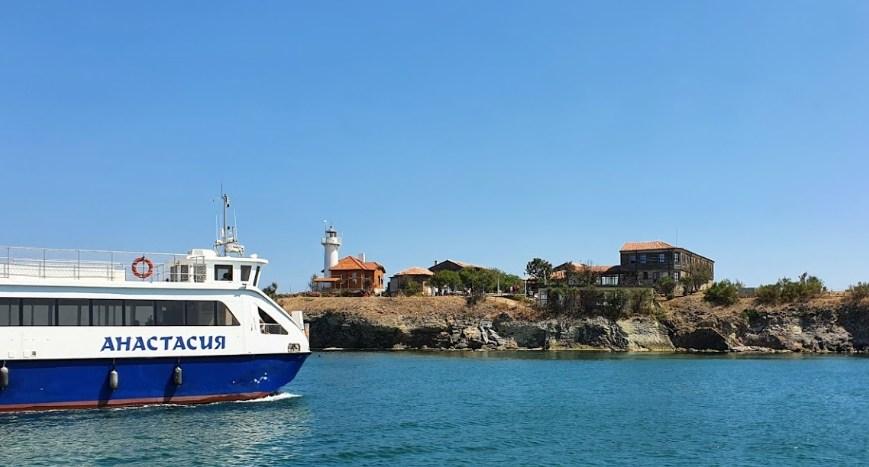 Boat Saint Anastasia and the island